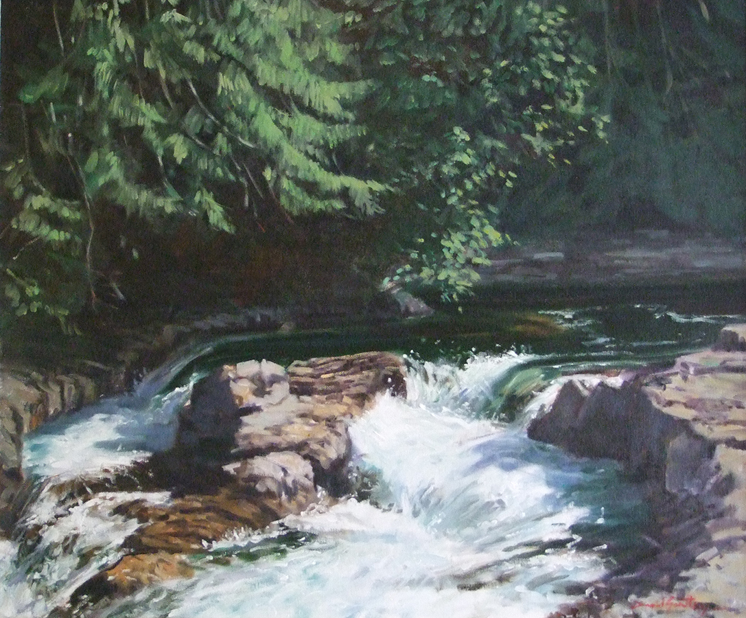 Painting of a turbulent stream